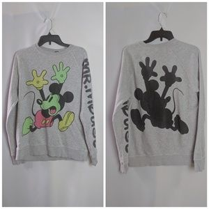 Mickey Mouse Neon Shadow Heather Gray Sweatshirt